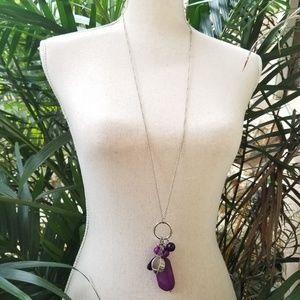 Silver and purple Sweater Necklace